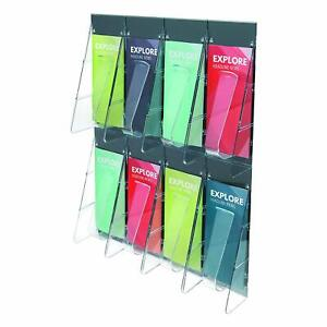 Deflecto 56201 Stand Tall 1 piece Literature Rack For Leaflets 8 Pockets Clear