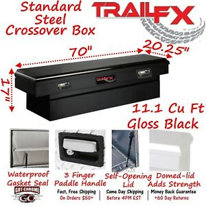 110702s Trailfx 70 Black Steel Crossover Truck Tool Box Single Lid