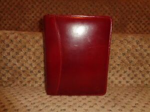 Franklin Covey Oxblood Red Glazed Full grain Leather Compact Zippr Close Planner