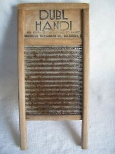 Vintage Dubl Handi Wash Board Columbus Washboard Co Usa 8 1 2 X 18 Wood Metal