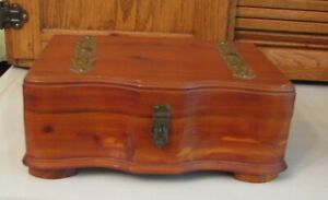 Vintage Jewelry Box W Mirror Metal Straps Handles Curved Front Trinket Chest