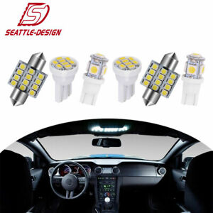 13x White Led Lights Interior Package Kit Deal Dome Map License Plate Lamp Bulbs