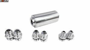 Inline Fuel Filter High Flow Turbo 40 Micron Mount An6 An8 An10 Universal Silver
