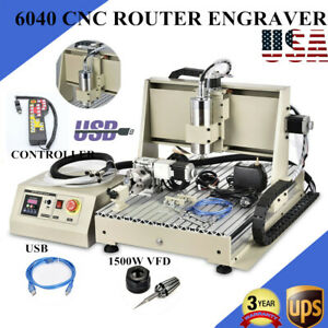 Usb 4 Axis 6040 Cnc Router Engraver 1500w Vfd Wood Engraving Drill W controller