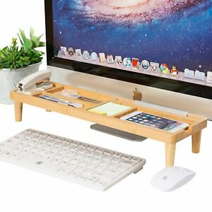 Saving Bamboo Desk Organiser Storage Keyboard Commodity Shelf With 6 Compartment