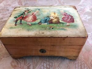 Antique Victorian Litho Music Box Wooden C 1890 4 3 4 X 3 1 2 X 2 1 2 Lovely