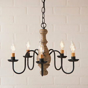Lancaster New 5 Arm Wood Chandelier In Americana Pearwood