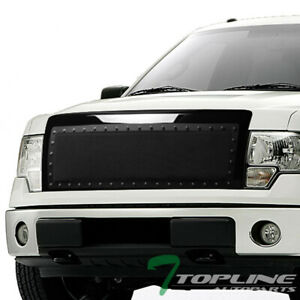 Topline For 2009 2014 Ford F150 Rivet Bolt Steel Mesh Front Bumper Grille Blk