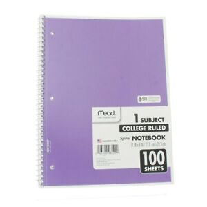Mead Spiral Notebook College Ruled 1 Subject 100 Sheets