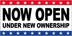 Now Open Under New Ownership Vinyl Banner Sign 2 To 20 Ft Stars Wb