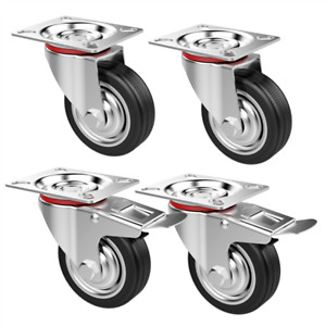 3 4 Pcs Rubber Cart Casters Wheels Swivel Lock 360 Degree Top Plated Large