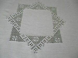 Antique Tablecloth Hand Embroidered Edge Center Linen