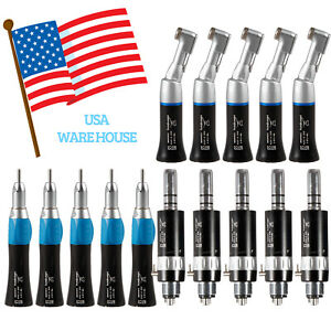 1 3 5 Black Dental Low Speed Contra Angle Straight Air Motor Handpiece Kit 4hole