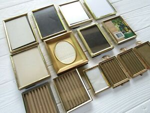Lot Of 14 Vintage Assorted Small Ornate Metal Picture Frames Easel Backs Glass