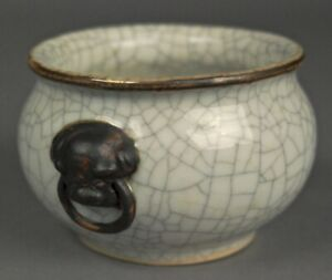 18thc Old Beautiful Crackle Glazed Chinese Porcelain Censer Ceramic Pottery