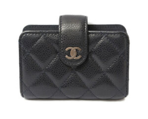 Chanel Card Business Card Into Chanel Caviar Skin A82287 Navy Vintage