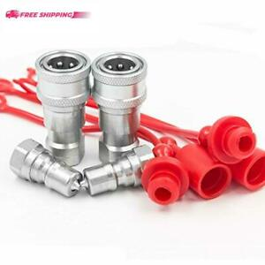 Akjia Electronics 2 Sets 1 4 Npt Thread Iso b Hydraulic Quick Disconnect
