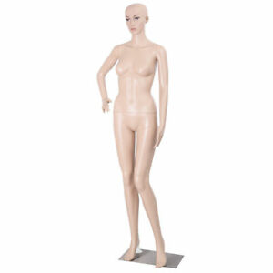 Female Mannequin Plastic Realistic Display Head Turns Dress Form W Base Flesh