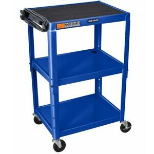 Luxor Avj42 rb 24 X 18 inch Blue Adjustable Height Metal A v Cart