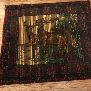 Antique Chase Sleigh Buggy Blanket Glass Eye Horse Hair Wool 68 X 60 With Deer