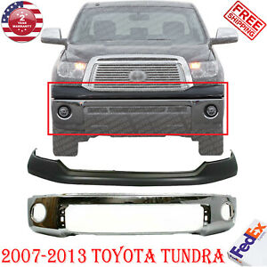 Chrome Steel Front Bumper Face Bar Primed Cover For 2007 2013 Toyota Tundra