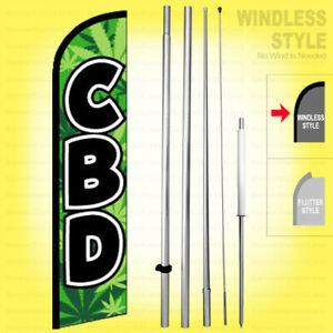 Cbd Windless Swooper Flag Kit 15 Feather Banner Sign Gf h