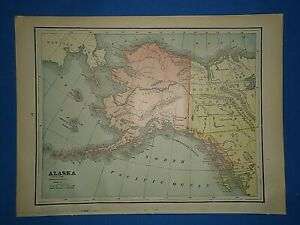 Vintage 1891 Alaska Territory Map Old Antique Original Atlas Map