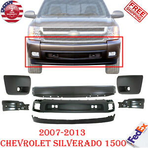Front Bumper Cover Cap Valance Kit For 2007 2013 Chevy Silverado 1500
