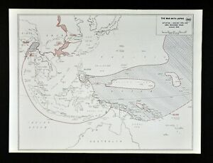 West Point Wwii Map War Japan South Pacific Allied Areas Recovered Jan 1945