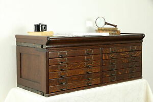 Oak Antique Desktop 12 Drawer File Collector Cabinet Jewelry Chest 31279
