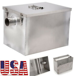 Grease Trap Commercial 8lb 5gpm Stainless Steel Interceptor Filter Kit Kitchen