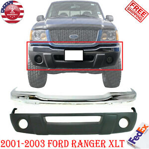 Front Bumper Chrome Steel Lower Valance Kit For 2001 2003 Ford Ranger 2pc
