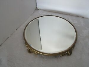 Antique Gold Tone Plateau Footed Beveled Mirror Vanity Perfume Tray Tin Back 12