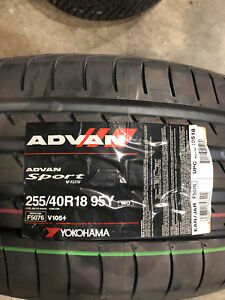 1 New 255 40 18 Yokohama Advan Sport Tire