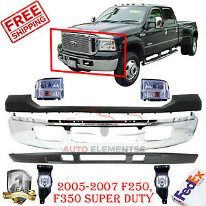 Front Bumper Chrome Up Low Cover Headlights For 2005 07 Ford F250 F350
