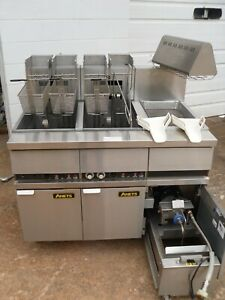 Used Anets 14el 17aa 100 Lb Elec Fryer With Filtration Food Warming Station