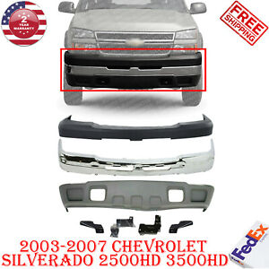 Front Bumper Cover Chrome Steel Kit Fits 2003 2007 Chevy Silverado 2500hd 3500