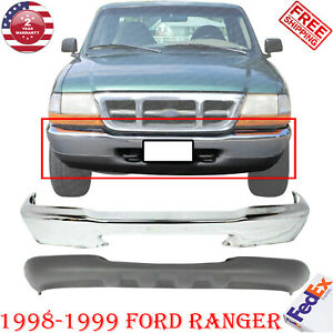 Front Bumper Chrome Steel Valance W o Fog Hole For 1998 1999 Ford Ranger 2pcs
