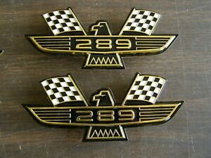 Ford 289 Crossed Flag Fender Emblems Gold Mustang Fairlane Galaxie Falcon 1965