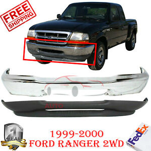 Front Bumper Chrome Steel Lower Valance For 1999 2000 Ford Ranger 2wd 2pc