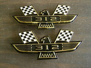 Ford 312 Crossed Flag Fender Emblems Gold Mustang Fairlane Galaxie Falcon 1965