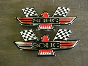 Ford Sohc Crossed Flag Fender Emblems Red Mustang Fairlane Galaxie Falcon 1969