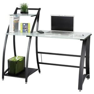 Safco Xpressions Glass Top Computer Workstation Desk With Shelves