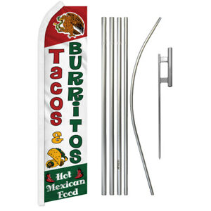 Tacos Burritos Advertising Swooper Flutter Feather Flag Kit Mexican Food Here