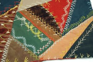 Antique 1896 Crazy Quilt Piece Embroidered Detailed Stitching Ep196