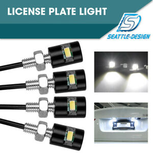 4xwhite 5730smd Led License Plate Light W Screw Bolt Car Motorcycle Marker Light
