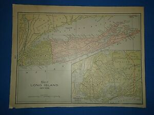 Vintage 1899 Long Island New York Old Antique Original Atlas Map