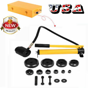 10 Dies 15t Hydraulic Knockout Punch Hand Pump Hole Tool Driver Kit W metal Case