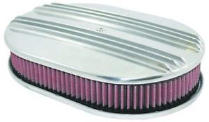 12 Oval Classic Polished Finned 4 Brl Aluminum Air Cleaner Kit Chevy Ford Mopar