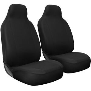Seat Cover Set Front Integrated Bucket For Car Truck Suv Flat Cloth 2pc Black